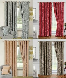 Bellini Fully Lined Crushed Velvet Luxury Ready Made Ring TopHeavy Door Curtains