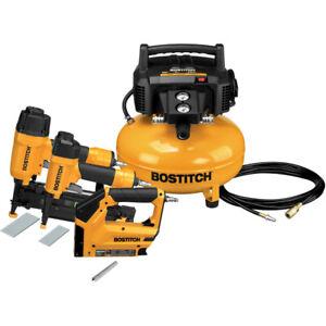 Bostitch BTFP3KIT 3-Pc Nailer/0.8 HP 6 gal Pancake Air Compressor Combo Kit New
