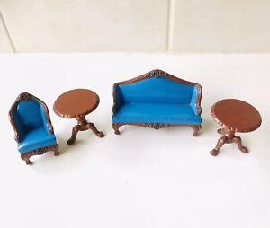 Vintage Mattel Littles Doll Furniture - Metal - Sofa Chair Tables - VGC - 1980
