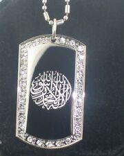 Shahadah Islamic Muslim kalema CZ Tag Pendant Necklace
