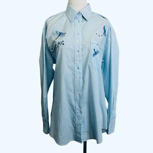 Las Olas Blouse Medium Women Blue Stripe Embroidery Dragonfly Rhinestone Vintage