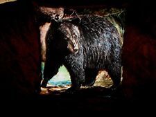 GRIZZLY  BEAR ON CLIFF PILLOW COVER