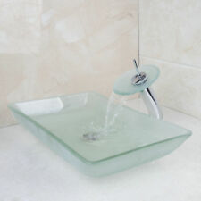 Bathroom Tempered Glass Vessel Sink Frosted Chrome Faucet Drain Taps