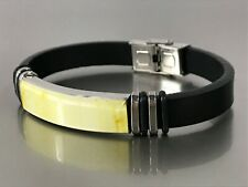 Mosaic Black Leather Band Unisex 8830 Amber Bracelet Natural Baltic Amber Inlay