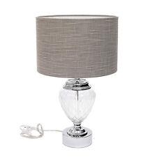 Design Tischlampe Tischleuchte Metall geschliffenes Glas Lamp Lampenschirm Stoff