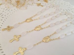 30 Pc Mini Rosary Gold And Frosted/Baptism Favors /recuerdo de Bautizo/ Communio
