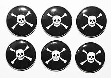 6 x Mini Skull & Crossbones Pirate Magnets MADE IN UK. Gift & Kitchen - 25mm