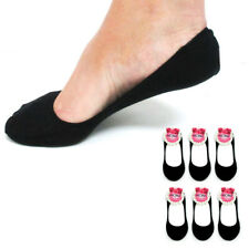 6 Pairs Black Womens Ladies No Show Foot Cover Peds Footies Liner Low Cut Socks