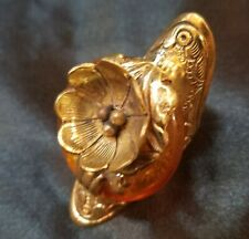 Tibetan Brass Floral Ruby Repoussee Ring Adjustable