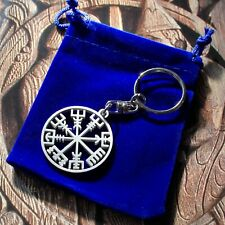 Double-sided Stainless Steel Vegvisir Rune Norse Viking Iceland Compass Keyring