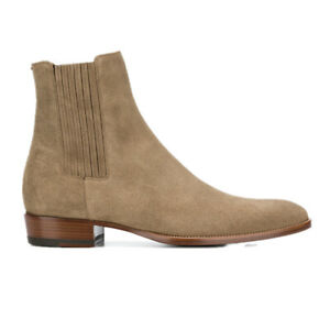 2021 Men Real Suede Leather Winter Ankle Boots Shoes Pointy Toe Business Chelsea
