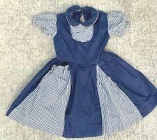 VTG Girl Party Dress Blue Striped Cotton Big DOLL 1950s APP. Sz 5-6 Full Skirt