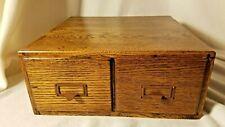 Antique Library File Box-Dark Oak Wood Card Catalog Library File Box-2 Drawer
