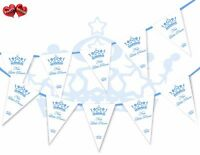 Welcome New Baby Little Prince Bunting Banner 15 flags First Birthday Boy