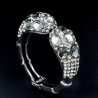 New Rhodium Plated Silver tone Clear Crystal Bangle Cuff Bracelet 08509
