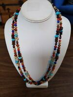 Vintage Multi Stone Double Strand Gorgeous Necklace With Sterling Clasp
