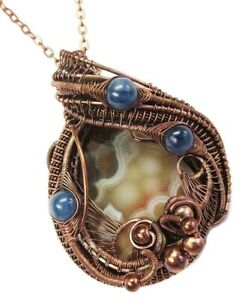 Lake Superior Agate Necklace in Copper with Blue Kyanite, Wire-Wrap