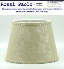 Paralume classico in tessuto damascato avorio con rifinitura - made in Italy