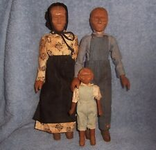 """Antique 10"""" Wood Carved Dolls~Child~Aunt~Uncle~Appalachian Folk Art~Polly Page"""