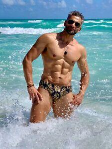 Mens Gold Baroque Swim Brief by Maris Equi. Speedo Style Cut.
