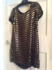 French Connection Sequin Serpent Dress (Navy & Bronze) Size 12