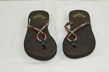 ROXY WOMAN'S BROWN MULTI-COLOR BEADED FLIP FLOP SANDALS W/RUBBER SOLE size 6/Six