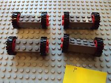 Lego Minifig ~ Lot Of Classic Red Wheels With Tires & Axles Sets Car Truck #uj5n