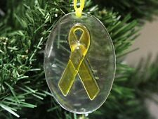 Yellow Ribbon Glass Christmas Ornament, Military & Army
