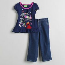 SESAME STREET ELMO TEE & DENIM PANTS SET 4T ~ NWT