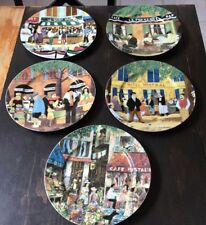 "SET OF 5 Guy Buffet Collection 11"" DINNER Plates GBC Art French Storefront Scene"