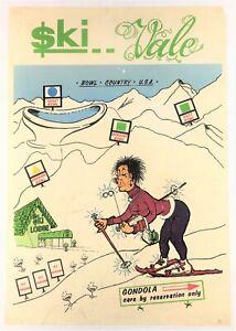 """""""$KI VALE"""" (1968) *COMIC CARTOON POSTER* Rockies Skiing *VAIL, COLORADO* Vintage"""