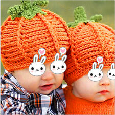 Pumpkin Halloween Costume Knitting Pattern Hat Cap For Newborn Infant Toddler