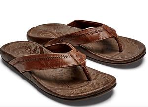 New OluKai Men's Hiapo Leather Beach Sandals - Rum/Dark Wood Size12
