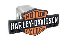 Harley Davidson Vintage Orange & Black Bar & Shield Emblem Tow Hitch Cover Plug