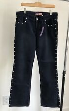 Vintage 2001 Old Navy Blue Metal Studded Boot-cut Corduroy Pants NWT! RARE!