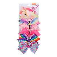JOJO SIWA 6 Pcs/Set Rainbow Printed Knot Ribbon Bow Hair Chip For Baby Kids Girl