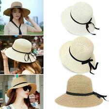 Women's Straw Hat floppy Elegant Summer Bohemia cap Brim New Sun Beach Wide T1W0
