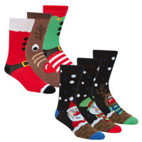 Mens Christmas Design Socks 6 Pairs Cotton Rich Novelty Xmas Festive Winter 6-11