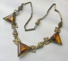 Antique Art Deco Engraved Gold Brass Bow Chain Amber Glass Necklace Pendant