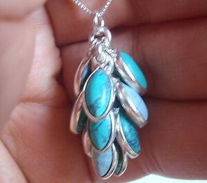Twelve-Gem Turquoise Cluster 925 Sterling Silver Pendant