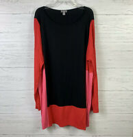 J.Jill Women's Blouse Size L Long Sleeves Stretch Tunic Top Color Block Casual