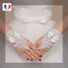 Jolis Gants blancs  élégants mariée dentelle noeud mariage réglable ENVOI RAPIDE