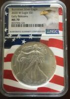 2020 Burnished American Silver Eagle Early Releases Wavy Flag Core Label