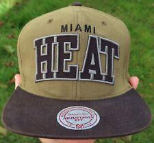 MIAMI HEAT Mitchell & Ness SNAPBACK HAT, Cap - Military Green NEW