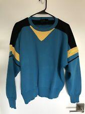 Vintage 80's Slalom Ski Sweater Blue Yellow Black Wool Zipper Pocket Sleeve Sz M