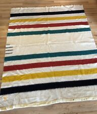 Vintage Hudson's Bay Company 100% Wool Striped Wool Blanket 4 Point 74 X 61""