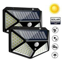 100/114 LED Solar Motion Sensor Light Outdoor Garden 4 Sides Security Wall Lamp