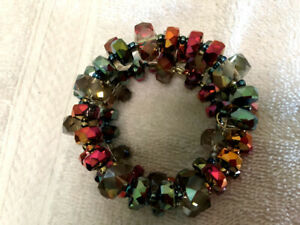 Wrap Memory wire wrap bracelet Red,Green and Orange Crystal beads  spacers beads
