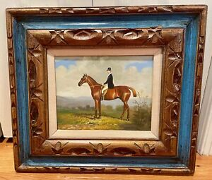 """8 x 10 Equestrian Horse Painting in 18.5"""" x 16.5"""" Gold & Teal Wooden Hecho Frame"""