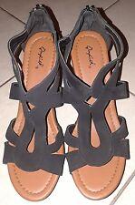 f397d345898 NWOB Womens Qupid Wedge Platform Sandal Black Open Toe Back Zipper Suede 9